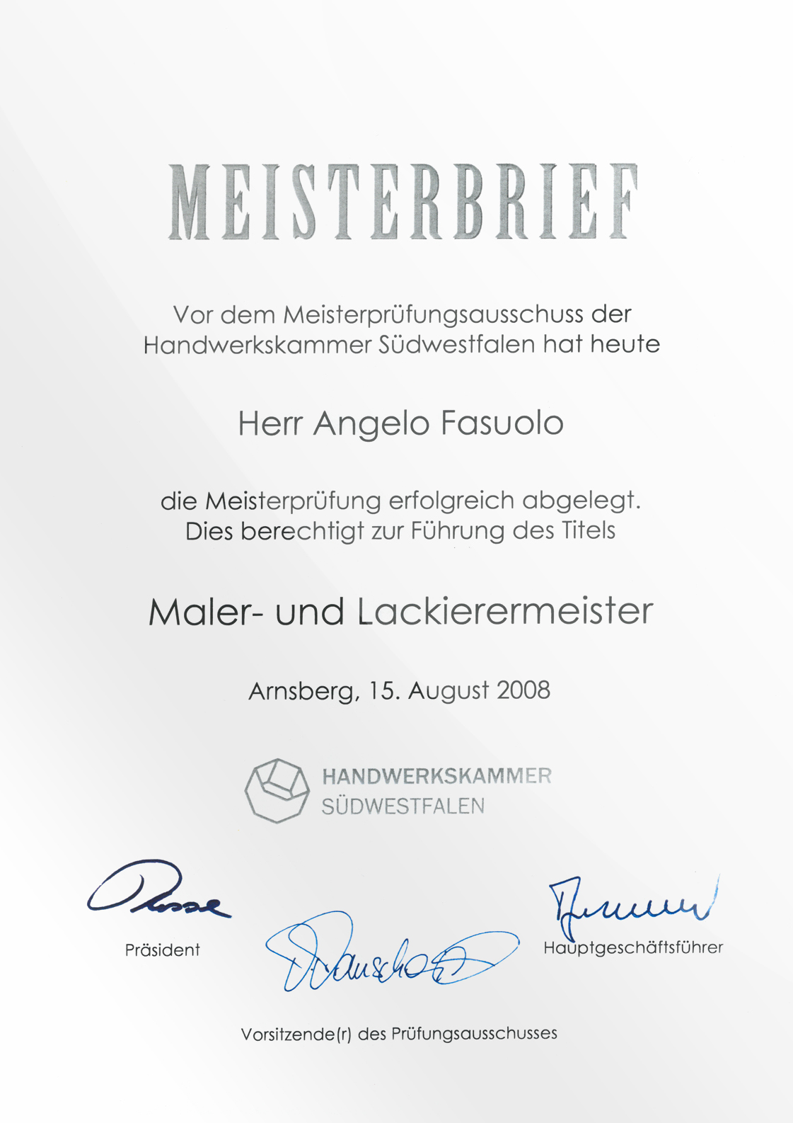 Meisterbrief Angelo Fasuolo