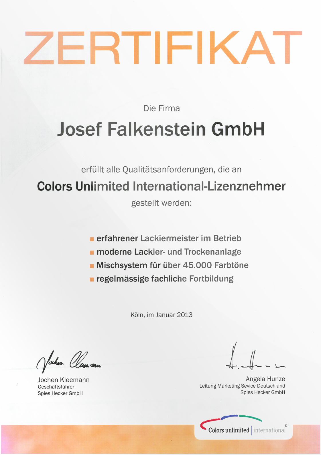 Zertifikat Colors Unlimited International